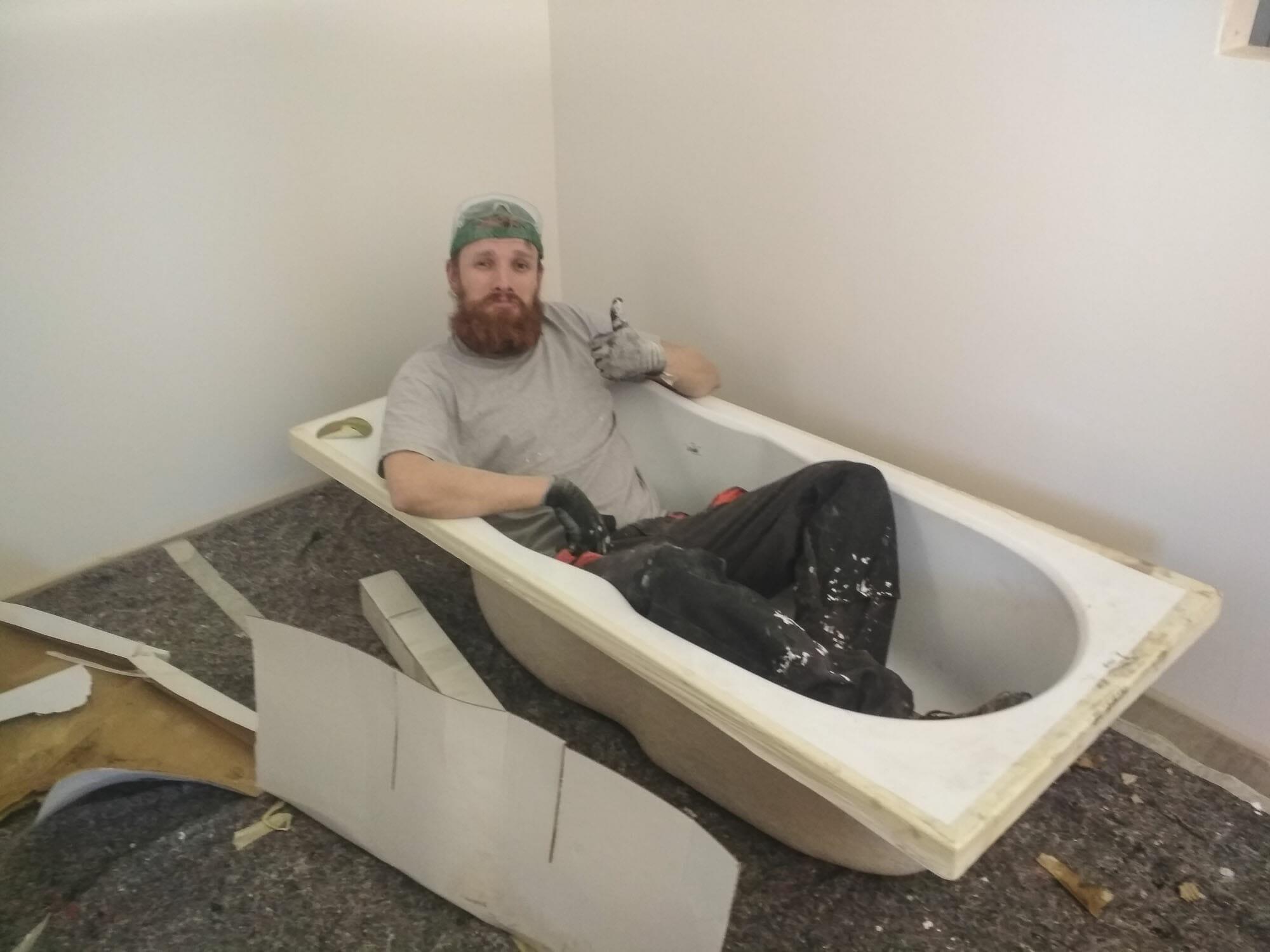 Einrichtung TIny House, Badewanne in der Bauphase