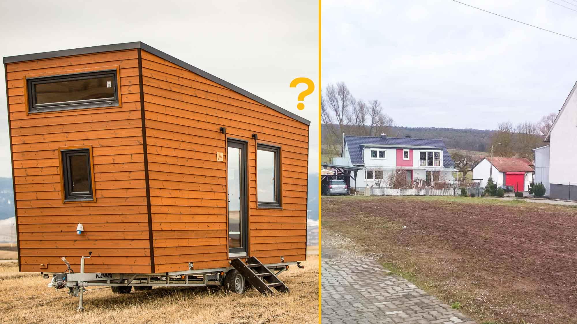 Tiny House und Tiny House Grundstück nebeneinander